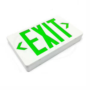 Emergi lite Elx400gn Plastic Exit Sign Green Led White Sign 120 277vac 0 024a