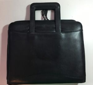 Scully Drop Handle Black Leather 3 Ring Binder With Zip Close 11x14
