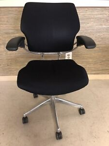 Black Humanscale Freedom Task Chair With Polished Aluminum Frame