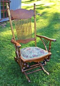 Vintage Antique Lowentraut Hall Glider Rocking Chair Wood Patent May 28 1888