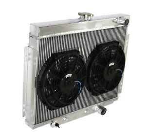 3 Core Passenger right Side Radiator 2x10 Fan For 67 70 Ford Mustang V8 Mt