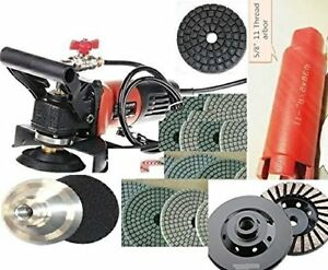 Wet Polisher Grinder 2 Core Bit Hole Saw Cut 23 Pad Grinding Cup Stone Concrete