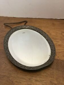 Antique Oval Stand Mirror 8 5 X 6 5 8 Ornate Metal Edge Flowers Cloth Back