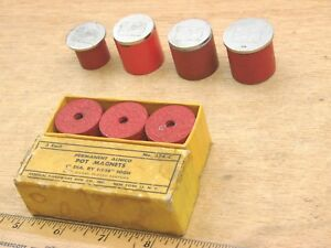 Lot Of 7 Alnico 5 Pot Magnets Red General Eclipse 374c 18 Lb Pull