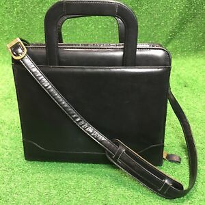 Compact 1 25 Rings Black Leather Franklin Covey Zip Planner binder Purse