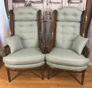 Vintage Wingback Cane Mid Century Arm Mod Chairs X2 Pair Redone Upolstery Fabric