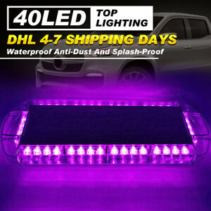 22 40 Led Strobe Light Bar Car Hazard Emergency Warning Purple Response Lamps
