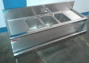 Prestige 60 3 Bay Sink With Speed Rail Commercial Under Bar Our 1