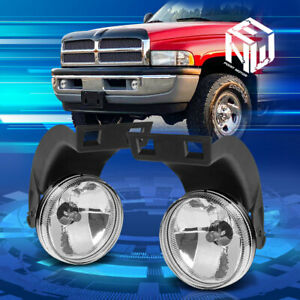 For 94 98 Dodge Ram 1500 2500 3500 Lh Rh Clear Lens Front Bumper Fog Light Lamps