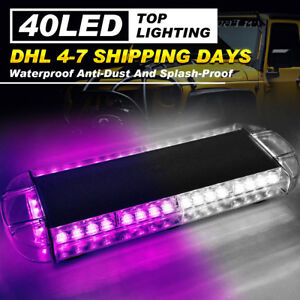 22 40 Led Strobe Light Bar Car Atv Emergency Warning Response Purple White Lamp