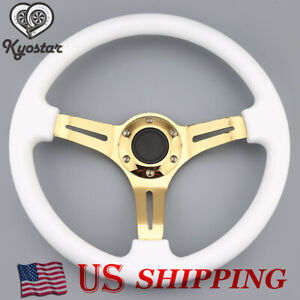 350mm 14inch Universal Deep Dish Classic Abs Car Steering Wheel Gold Spoke White