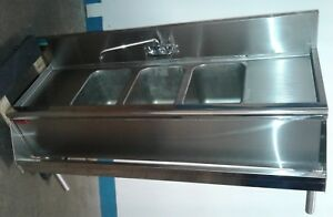 Prestige 60 3 Bay Sink With Speed Rail Commercial Under Bar Our 2