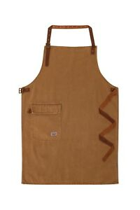 Uskees Chorlton Denim Bib Apron Fsp Brown Leather Straps Barista Bartender