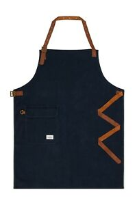 Uskees Chorlton Denim Bib Apron English Navy Leather Straps Barista Bartender