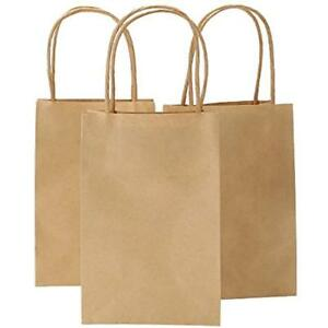 5 25 Kraft Paper X 3 75 8 Inches Brown Small Bags With Handles Shopping Party