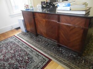 Solid Mahogany L Shaped Office Desk W Protective Glass Top