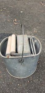 Vintage Antique De Luxe Metal Mop Bucket Wood Wringer Deluxe Galvanized