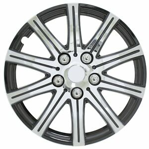 Wheel Cover Silver With Black 15 In For Jeep Vw Toyota Honda Wheel Hub Caps