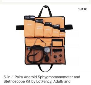 5 in 1 Palm Aneroid Sphygmomanometer And Stethoscope Kit By Lotfancy Adult Inf