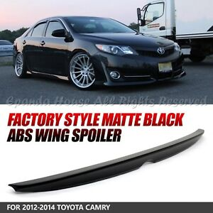 For 2012 14 Toyota Camry Abs Unpainted Black Jdm Oem Rear Trunk Wing Spoiler Usa
