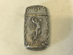 Antique Sterling Silver Match Safe Vesta Case Nude Woman Crescent Moon