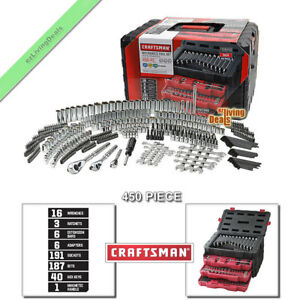 Craftsman Mechanics Tool Set 450 Pc Sae Metric Ratchet Socket Wrenches With Case