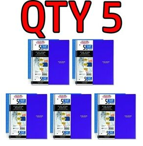 Qty 5 Five Star Spiral Notebook 5 Subj College Rule 11 X 8 1 2 200 Sheets