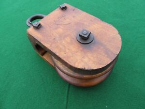 Antique Starline Wood Pulley Early Square Nut Bolts Nice