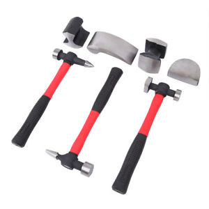 7 Pc Hand Car Auto Body Work Hammer And Dolly Fender Tool Dent Repair Tool Set
