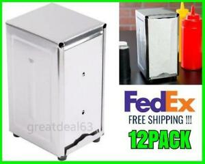 New 12 Pack Napkin Dispenser Stainless Steel Us Fedex Free Shipping