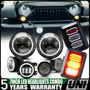7 led Headlight W Fog Lamp Turn Signal Taillight For Jeep Wrangler Jk 2007 17