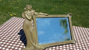 Rare Art Nouveau Vanity Dresser Mirror Figural Woman Lady Maiden In Long Gown