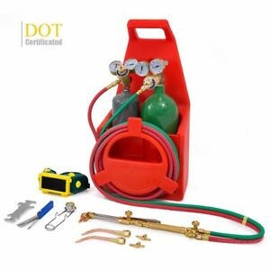 Portable Twin Tote Oxygen Acetylene Oxy Gas Welding Cutting Weld Torch Tank Dot