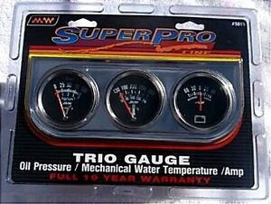 Super Pro 5015 Triple Gauge Set New Oil Water Amp Chrome Panel 2 Inch Gauges