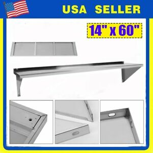 14 X 60 Stainless Steel Wall Pot Rack Shelf Hook Commercial Restaurant Ek