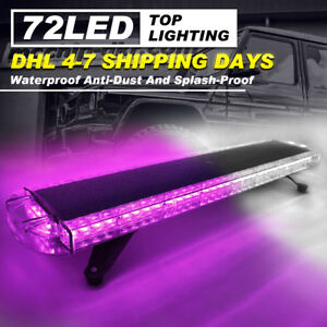 72 Led Car Emergency Beacon Warn Response Purple White Strobe Light Bar Lamps