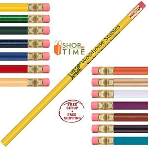 Customized 2 Pencil Printed With Your Company Information Logo Text 150 Qty