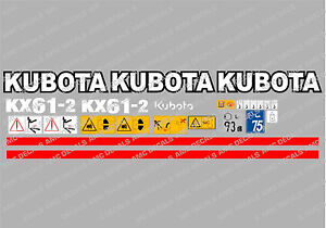 Kubota Kx61 2 Mini Digger Complete Decal Set With Safety Warning Signs