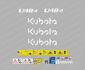 Kubota U48 4 Mini Digger Complete Decal Set With Safety Warning Signs