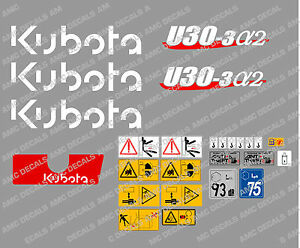 Kubota U30 3a2 Mini Digger Complete Decal Set With Safety Warning Signs