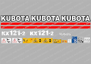 Kubota Kx121 2 Mini Digger Complete Decal Set With Safety Warning Signs