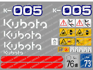 Kubota K005 Mini Digger Complete Decal Set With Safety Warning Signs