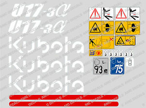 Kubota U17 3 Mini Digger Complete Decal Set With Safety Warning Signs