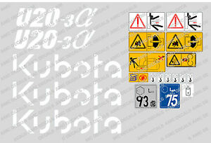 Kubota U20 3 Mini Digger Complete Decal Set With Safety Warning Signs
