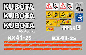 Kubota Kx41 2s Mini Digger Complete Decal Set With Safety Warning Signs