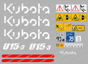 Kubota U15 3 Mini Digger Complete Decal Set With Safety Warning Signs