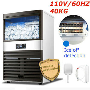 40kg 110v Commercial Ice Cube Maker Machines Freezers Frozen Bar Drink Us Plug