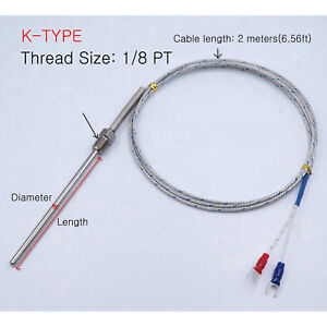 K Type Thermocouple Temperature Probe Sensor D 4 8 Pt1 8 2m 6 56ft Cable