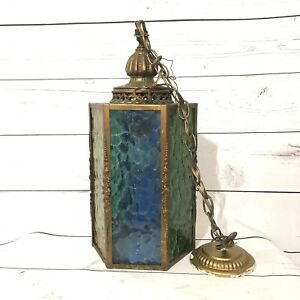 Vintage Mid Century Lantern Style Hanging Lamp With Colored Glass Panels Works