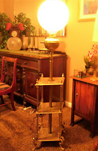 Antique Victorian 3 Shelf Bradley Hubbard Griffin Footed Piano Floor Lamp
